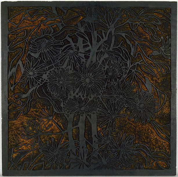 An image of Woodblock for 'Wheel flower'