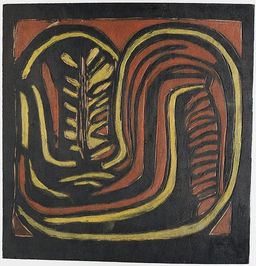 An image of recto: Woodblock for '(Aboriginal glyph)' verso: Woodblock for '(Banksia, Kurrajong pods, in round vase)' by Margaret Preston