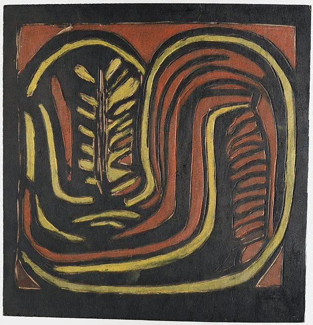 An image of recto: Woodblock for '(Aboriginal glyph)' verso: Woodblock for '(Banksia, Kurrajong pods, in round vase)'