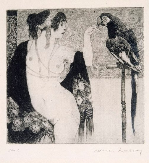 An image of Lady and parrot by Norman Lindsay
