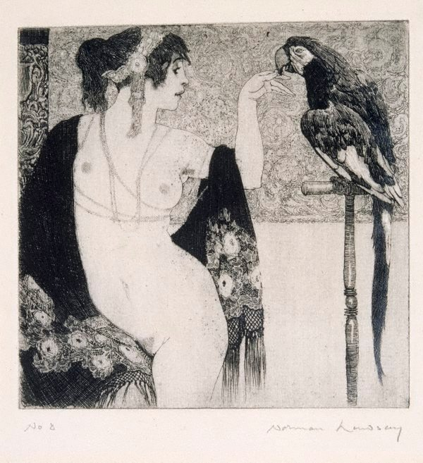 An image of Lady and parrot
