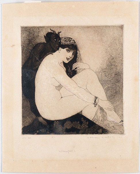 An image of Whispers by Norman Lindsay