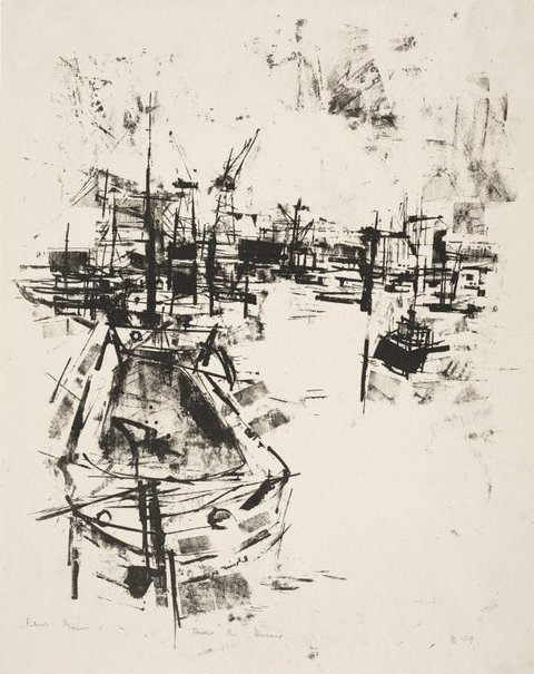 An image of Around the harbour by Robert Henderson Grieve