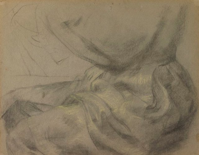 An image of recto: Self portrait, drapery study of lap verso: (a shell)