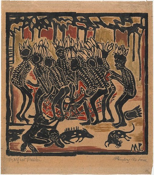 An image of Australian legend, number 4: Kangaroo dance and pointing the bone by Margaret Preston