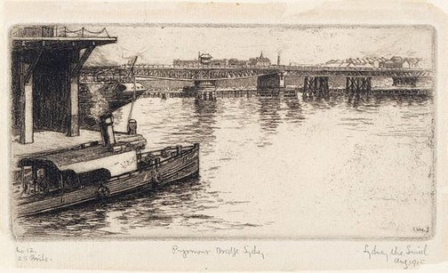 An image of Pyrmont Bridge, Sydney by Sydney Ure Smith