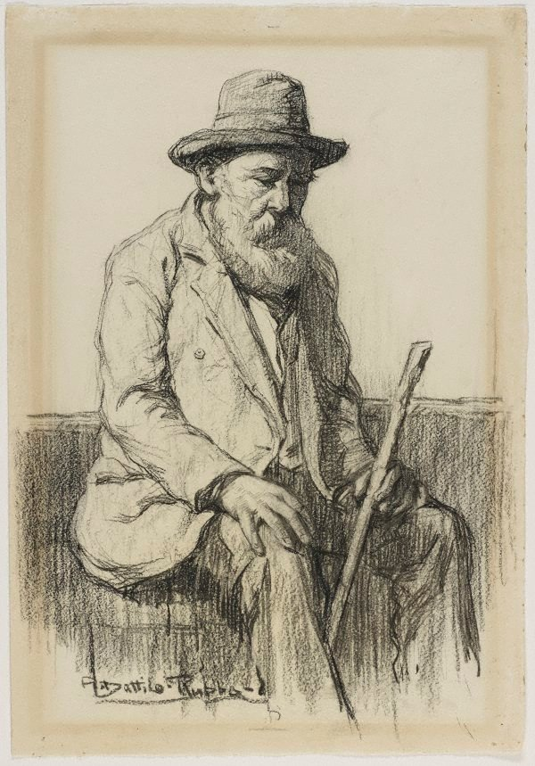 An image of Study of an old man seated