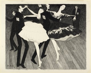 AGNSW collection John Brack Sketch for 'Latin American grand final' 1969
