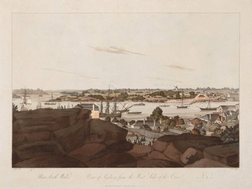 An image of View of Sydney from the west side of the cove, no. 1 by John Clark, after John Eyre