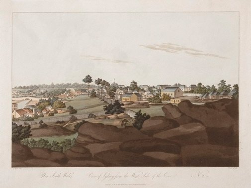 An image of View of Sydney from the west side of the cove, no. 2 by John Clark, after John Eyre