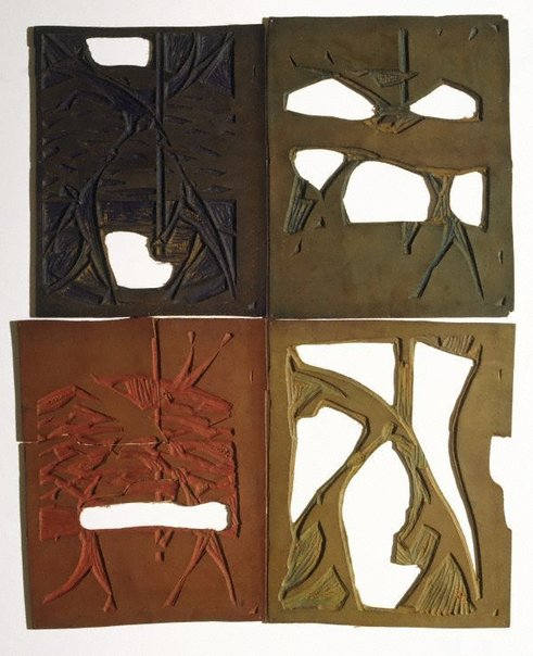 An image of Four linoblocks for 'The acrobats' by Dorrit Black