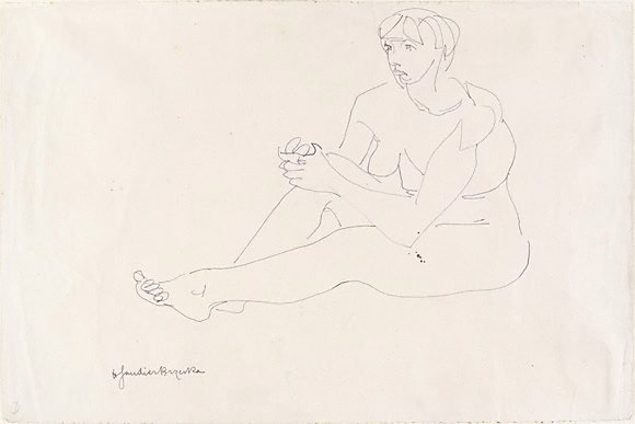 An image of Seated female nude, hands clasped