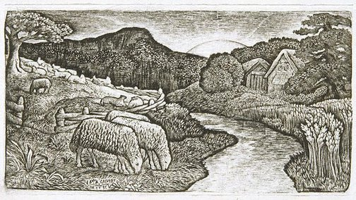 An image of The sheep of his pasture by Edward Calvert
