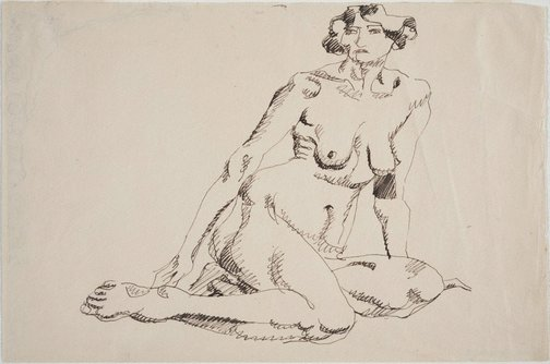 An image of Seated female nude, facing left by Henri Gaudier-Brzeska