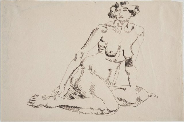 An image of Seated female nude, facing left