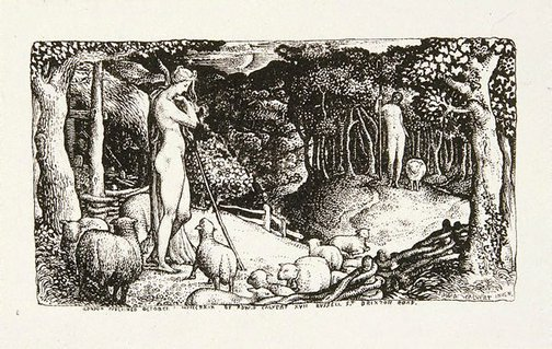 An image of Ideal pastoral life by Edward Calvert