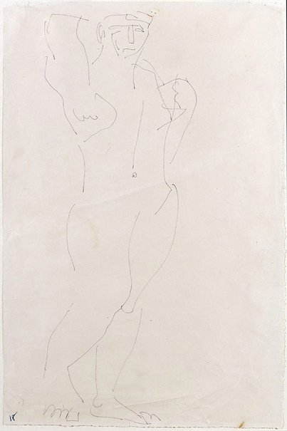 An image of Standing male nude with arms raised by Henri Gaudier-Brzeska