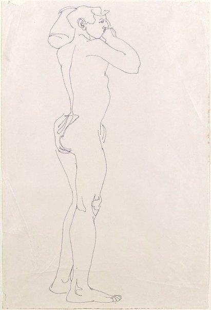 An image of Standing nude boy holding a vessel on left shoulder by Henri Gaudier-Brzeska