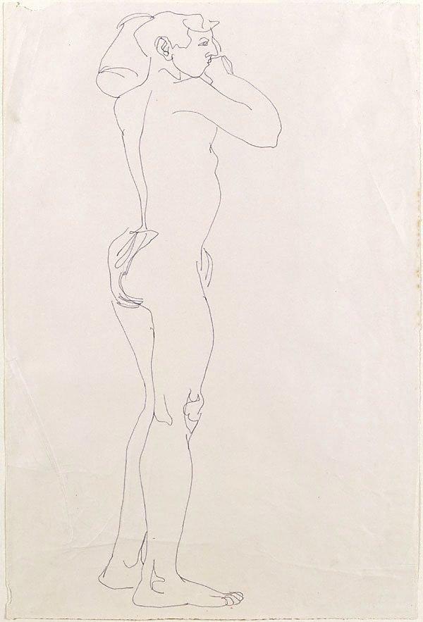 An image of Standing nude boy holding a vessel on left shoulder