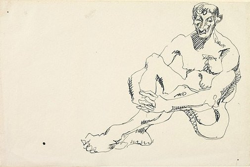 An image of Seated male nude, hands clasped by Henri Gaudier-Brzeska