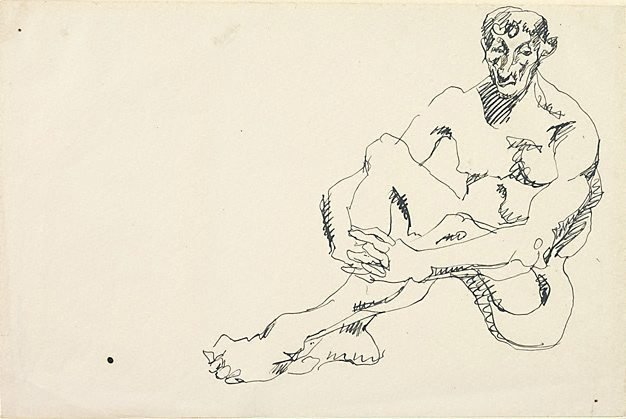 An image of Seated male nude, hands clasped