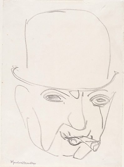 An image of Head of a man with bowler hat and cigar