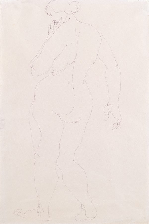 An image of Standing female nude, back view
