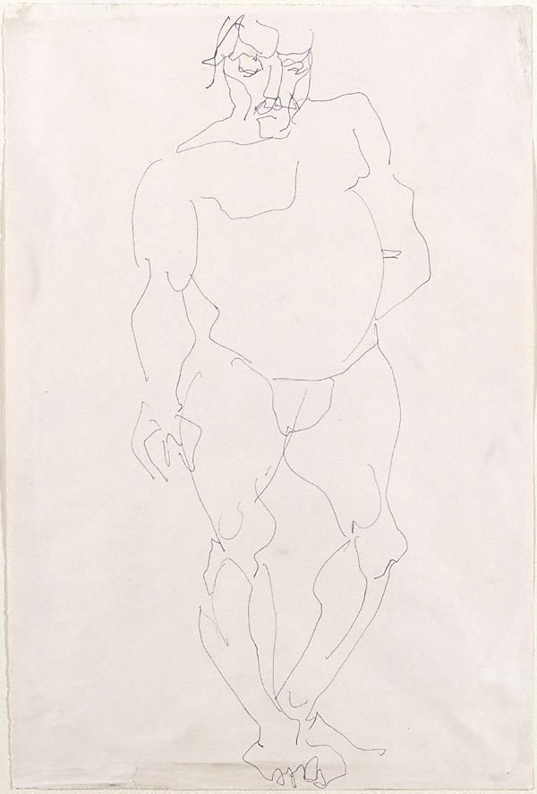 An image of Standing male nude with left hand behind back