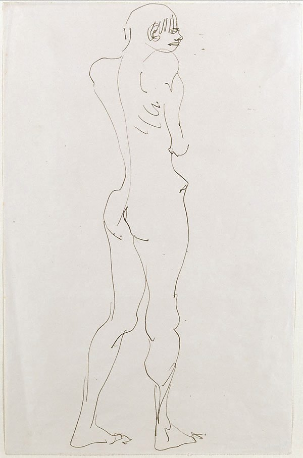 An image of Standing nude boy, back view