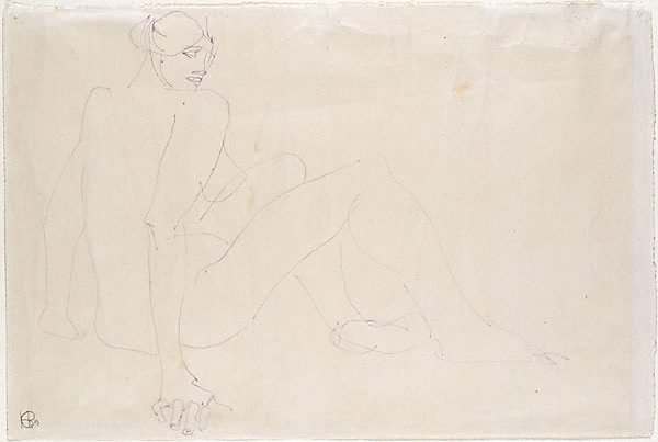 An image of Seated female nude, back view