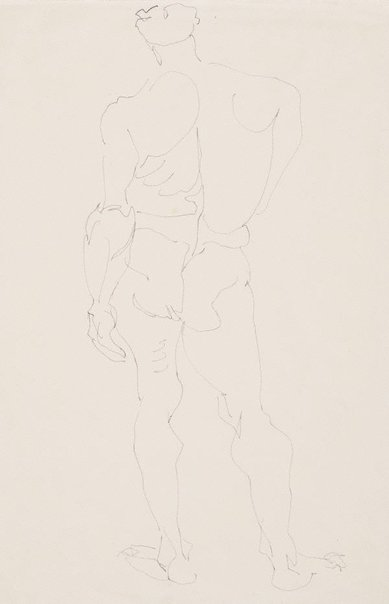 An image of Standing male nude, back view, weight on left leg by Henri Gaudier-Brzeska