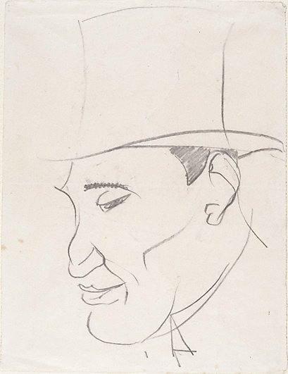 An image of Head of a man in a top hat by Henri Gaudier-Brzeska