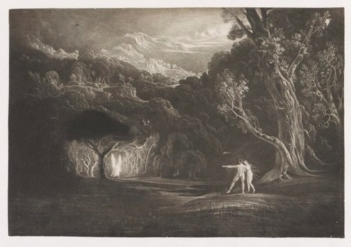 An image of Paradise, with the approach of the Archangel Raphael by John Martin