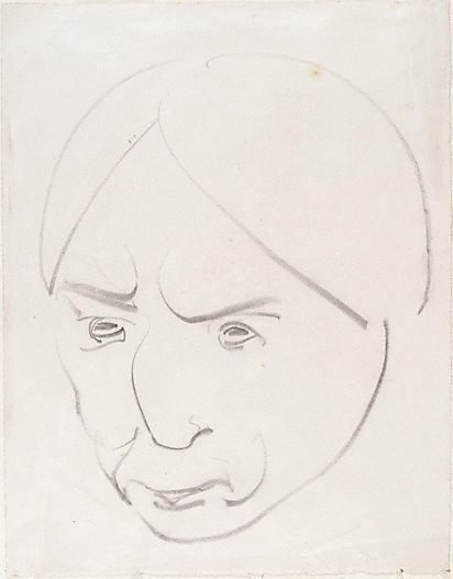 An image of Head, hair parted in centre by Henri Gaudier-Brzeska