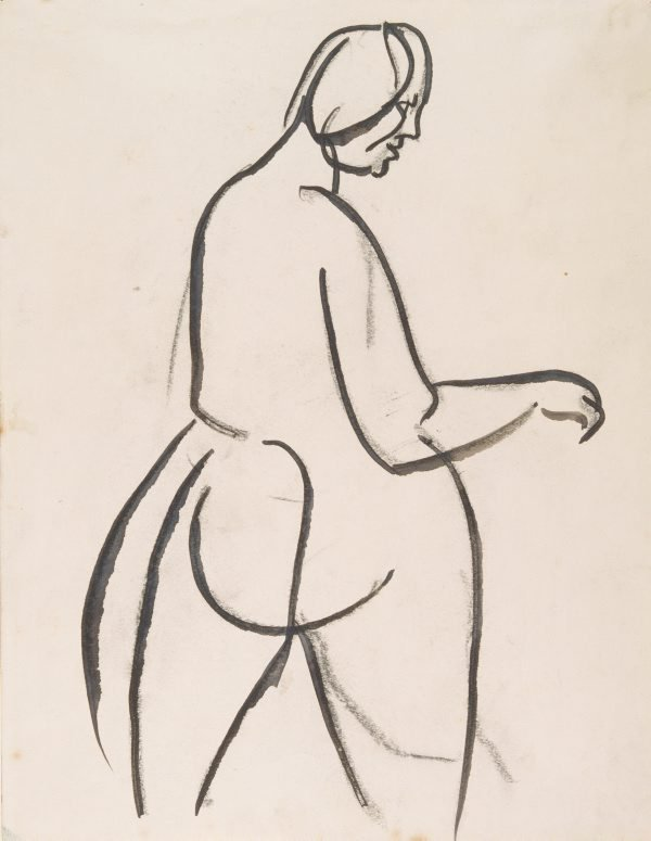 An image of Standing female nude, turning to right : back view
