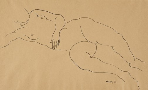 An image of Reclining female nude by Horace Brodzky