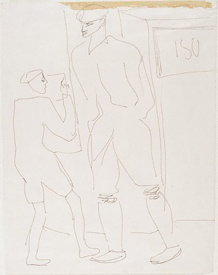 An image of Two male figures standing by a door