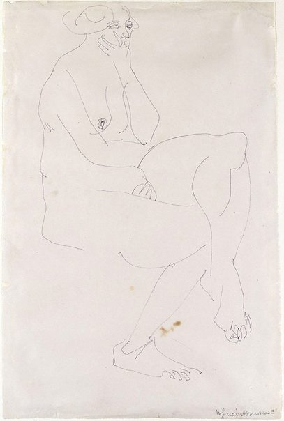 An image of Seated female nude, chin in hand by Henri Gaudier-Brzeska