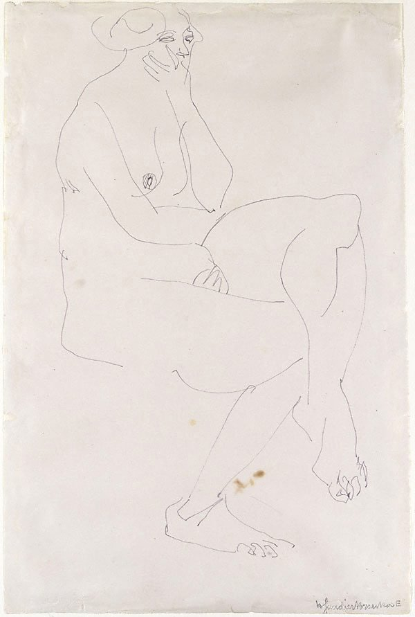 An image of Seated female nude, chin in hand