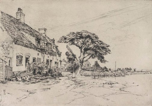 An image of On the banks of the Bure by Sir Frank Short