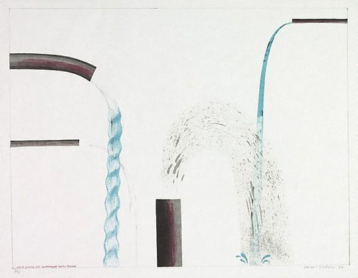 An image of Water pouring into swimming pool, Santa Monica by David Hockney