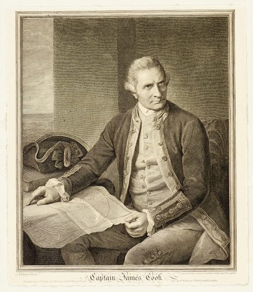 An image of Portrait of Captain James Cook by John Keyse Sherwin, after Nathaniel Dance-Holland