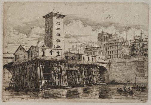 An image of The Notre-Dame pump, Paris by Charles Meryon