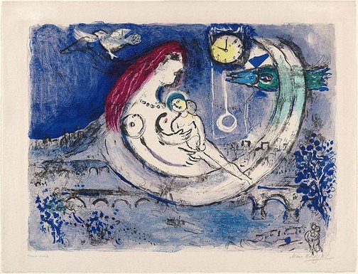 An image of Paysage bleu (Blue landscape) by Marc Chagall