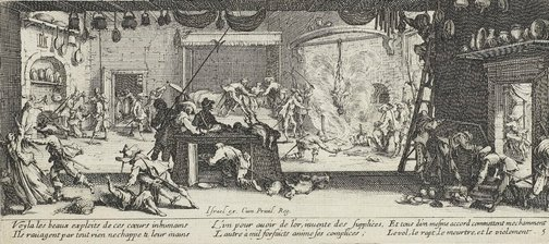 An image of Plundering a large farmhouse by Jacques Callot