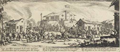 An image of Plundering and burning a village by Jacques Callot