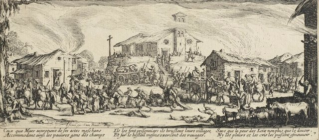 An image of Plundering and burning a village