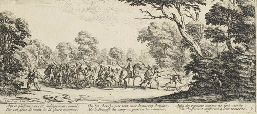 An image of Discovery of the criminal soldiers by Jacques Callot