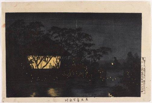An image of Night scene near the Tenno Temple on the Koromo River by KOBAYASHI Kiyochika