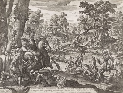 An image of The great stag and boar hunt by Antonio Tempesta